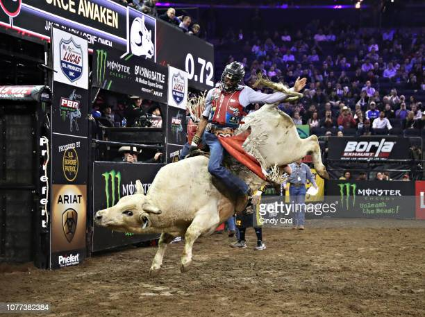 Bull rider Alisson De Souza rides Force Awaken during the 2019 Professional Bull Riders Monster Energy Buck Off at the Garden Unleash the Beast event...