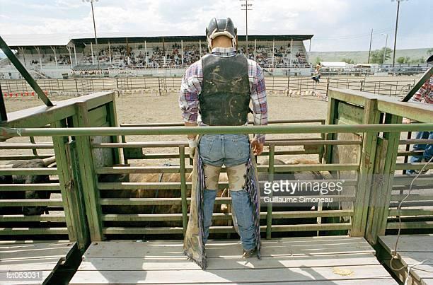 A bull rider at a rodeo