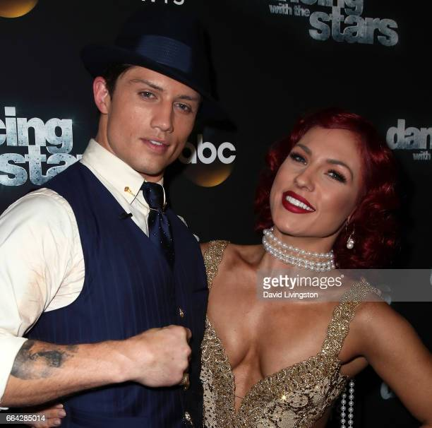 Bull rider Bonner Bolton and dancer Sharna Burgess attend 'Dancing with the Stars' Season 24 at CBS Televison City on April 3 2017 in Los Angeles...