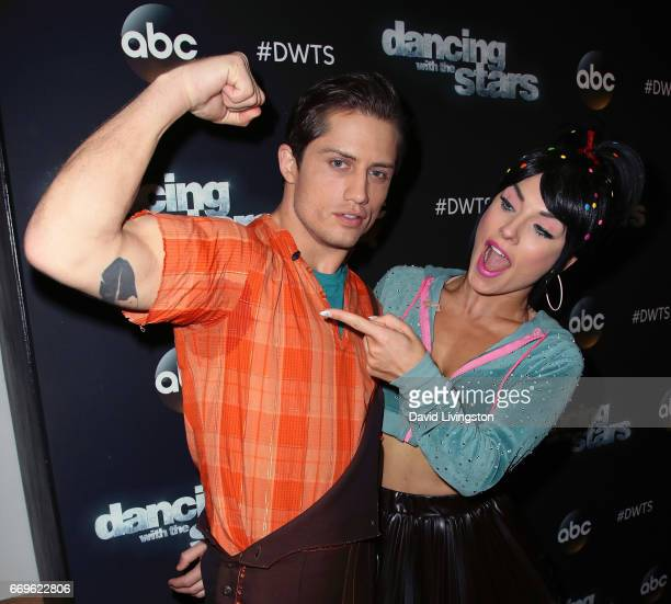 Bull rider Bonner Bolton and dancer Sharna Burgess attend 'Dancing with the Stars' Season 24 at CBS Televison City on April 17 2017 in Los Angeles...