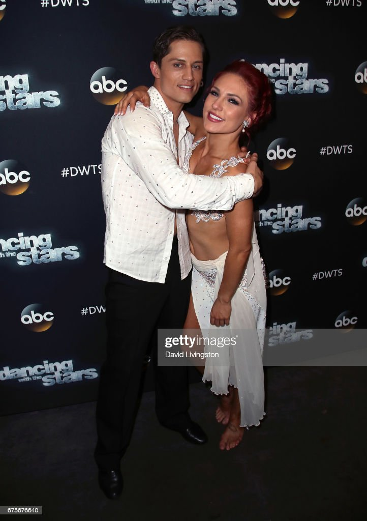 Bull rider Bonner Bolton (L) and dancer Sharna Burgess attend 'Dancing with the Stars' Season 24 at CBS Televison City on May 1, 2017 in Los Angeles, California.