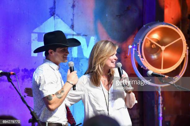 Bull rider Bonner Bolton and GAC's Suzanne Alexander speak onstage at the HGTV Lodge during CMA Music Fest on June 9 2017 in Nashville Tennessee