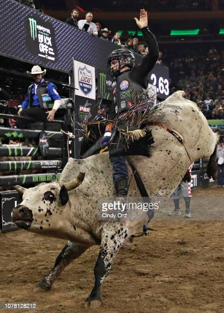 Bull rider Chase Robbins rides Bad Decision during the 2019 Professional Bull Riders Monster Energy Buck Off at the Garden Unleash the Beast event at...