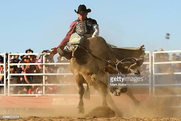 A bull rider is bucked by a bull during the Bull Ride Spectacular on the second day of the 2014 Deni Ute Muster at the Play on the Plains Festival...