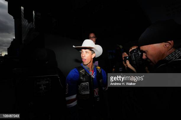 Bull rider JB Mauney attends the PBR's Built Ford Tough Road To Las Vegas in Times Square on October 15 2010 in New York City