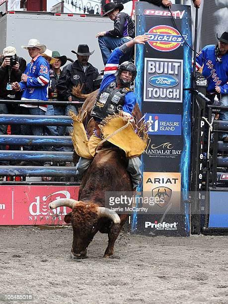 Bull rider JB Mauney competes at PBR's Built Ford Tough Road To Las Vegas at Times Square on October 15 2010 in New York City