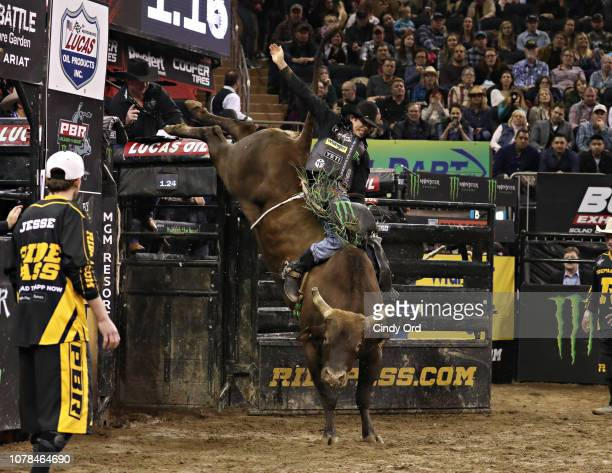Bull rider JB Mauney during the 2019 Professional Bull Riders Monster Energy Buck Off at the Garden Unleash the Beast event at Madison Square Garden...