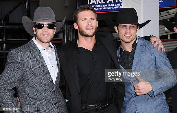 Bull Rider Josh Faircloth actor Scott Eastwood and Bull Rider Bonner Bolton arrive at the Los Angeles Premiere 'The Longest Ride'at TCL Chinese...