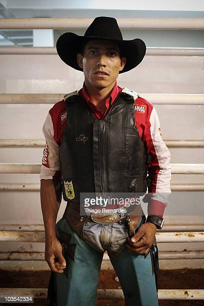 Bull rider Julio Cesar Ribeiro poses for a portrait prior to the Barretos national bull riding circuit final as part of the 2010 Barretos...