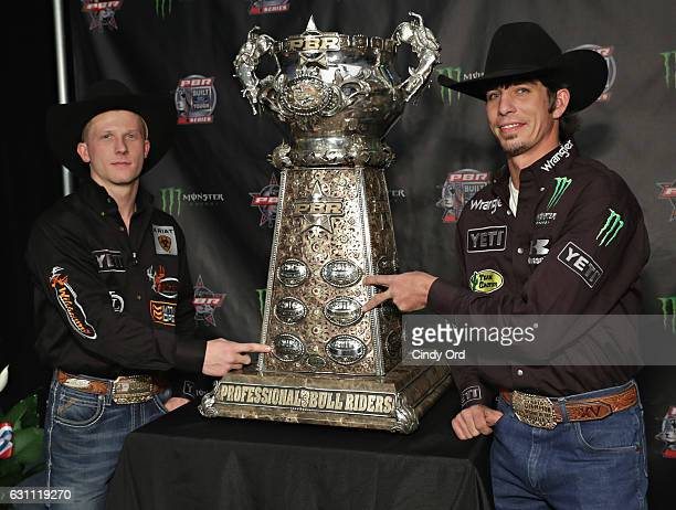 Bull Riders Cooper Davis and JB Mauney attend the 2017 Professional Bull Riders Monster Energy Buck Off at the Garden at Madison Square Garden on...