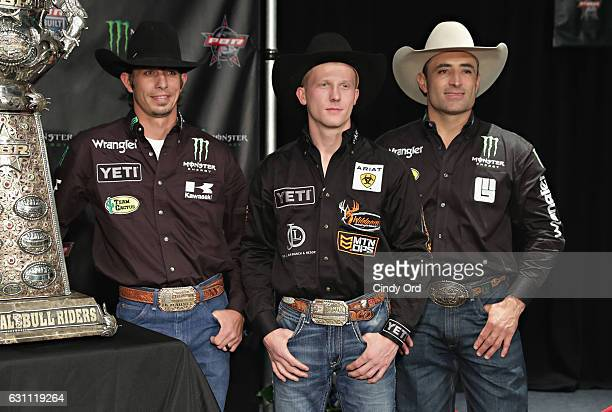 Bull Riders JB Mauney Cooper Davis and Guilherme Marchi attend the 2017 Professional Bull Riders Monster Energy Buck Off at the Garden at Madison...