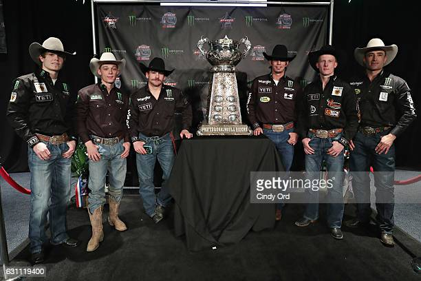 Bull Riders Reese Cates Gage Gay Chase Outlaw JB Mauney Cooper Davis and Guilherme Marchi attend the 2017 Professional Bull Riders Monster Energy...