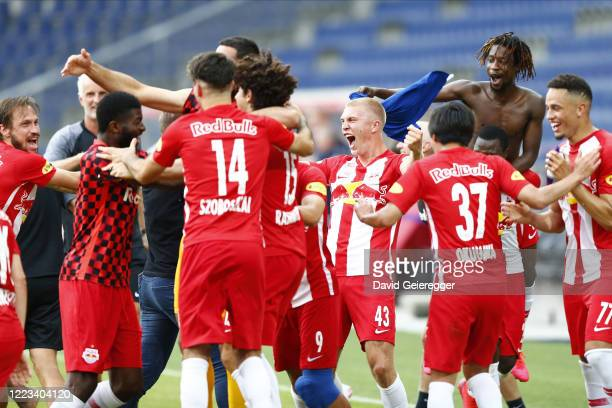 Bull Salzburg playters celebrate winning the Austrian Bundesliga trophy after the tipico Bundesliga match between Red Bull Salzburg and TSV Prolactal...