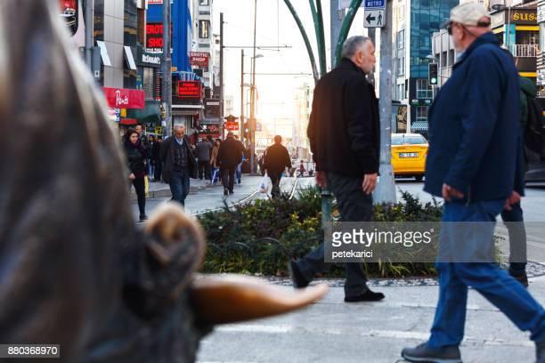 bull statue at kadikoy, istanbul, turkey - kadikoy stock photos and pictures