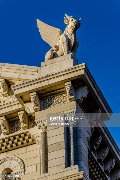 bull statue with wings - st. nicholas cathedral - winged bull stock photos and pictures