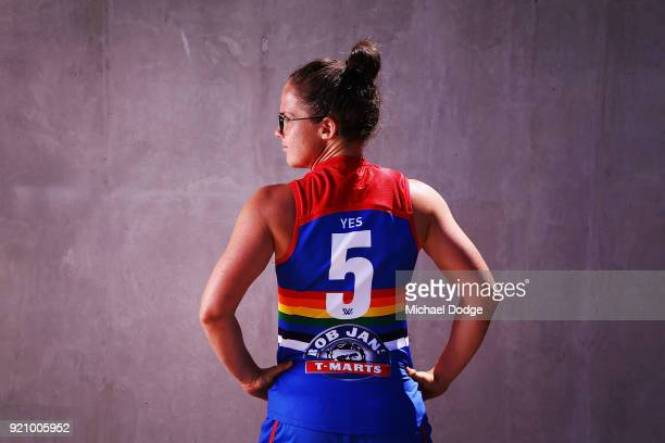 Bulldog Emma Kearney poses in front of the EJ Whittem Stand with the Pride guernsey to be worn for Friday nightÕs game during an AFLW media...