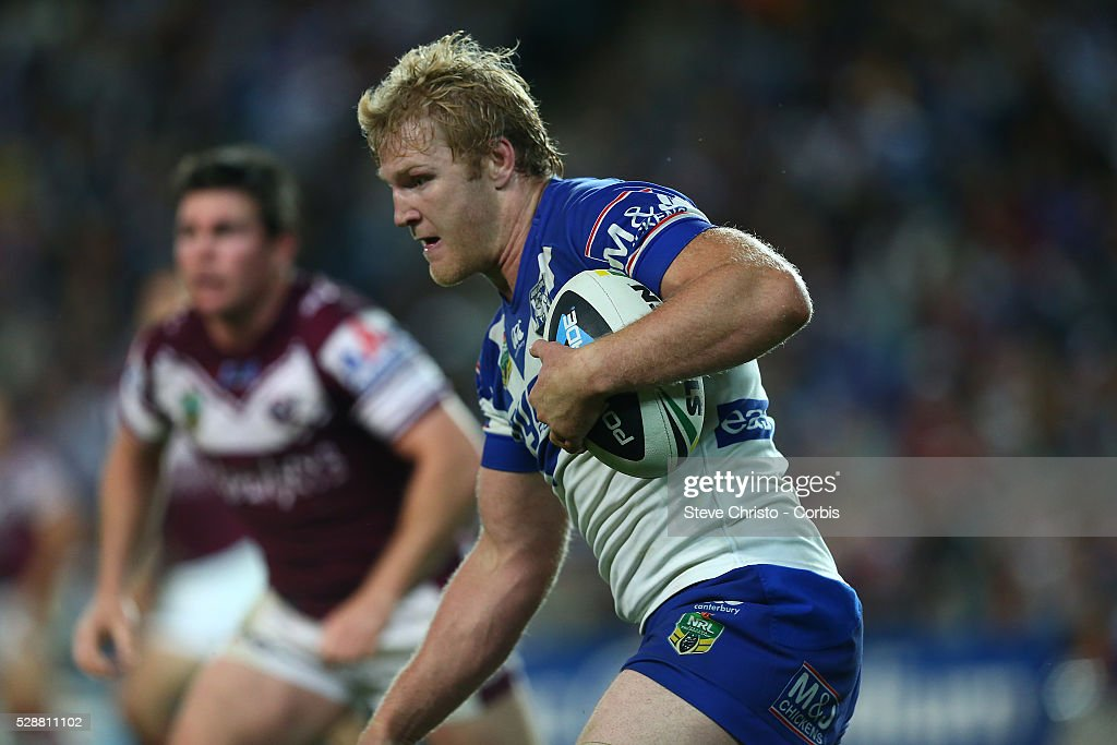 Bulldogs Aiden Tolman runs the ball up during the match against Manly at Allianz Stadium. Sydney, Australia. Saturday 20th September 2014.