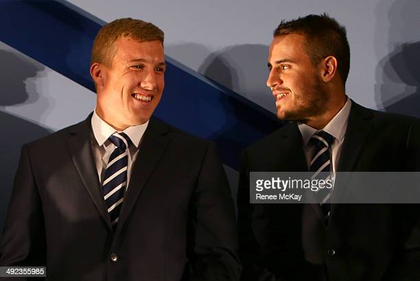 Bulldogs and NSW team mates Trent Hodkinson and Josh Reynolds smile during the New South Wales Blues State of Origin team announcement at Hilton...