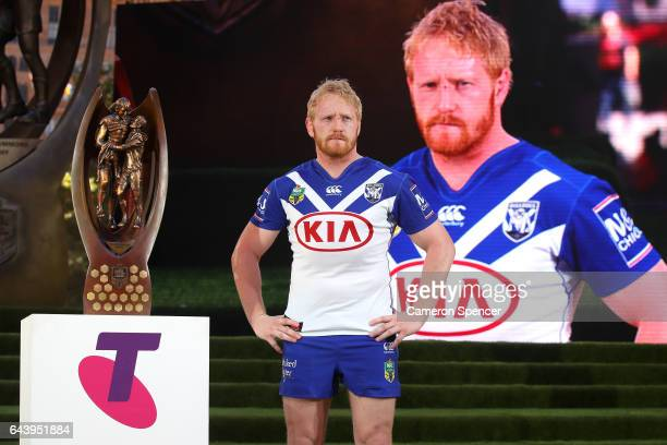 Bulldogs captain James Graham is introduced during the 2017 NRL Season Launch at Martin Place on February 23 2017 in Sydney Australia
