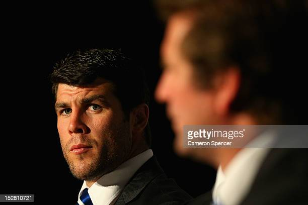 Bulldogs captain Michael Ennis looks on during a press conference during the 2012 NRL Grand Final breakfast at Doltone House on September 27 2012 in...
