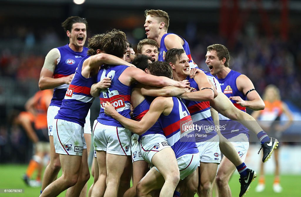 Bulldogs celebrate victory afte the AFL First Preliminary Final match between the Greater Western Sydney Giants and the Western Bulldogs at Spotless Stadium on September 24, 2016 in Sydney, Australia.
