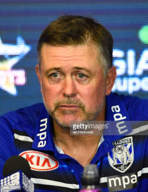 Bulldogs coach Dean Pay looks on at the post match media conference at the end of during the round six NRL match between the North Queensland Cowboys...