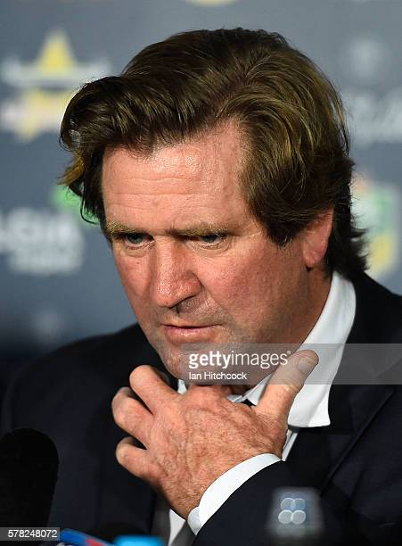 Bulldogs coach Des Hasler gestures at the post match media conference at the end of during the round 20 NRL match between the North Queensland...