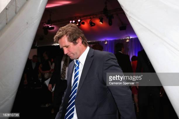 Bulldogs coach Des Hasler leaves the 2012 NRL Grand Final breakfast at Doltone House on September 27 2012 in Sydney Australia