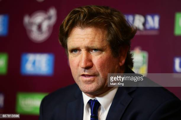 Bulldogs coach Des Hasler speaks to the media after the round four NRL match between the Manly Warringah Sea Eagles and the Canterbury Bulldogs at...