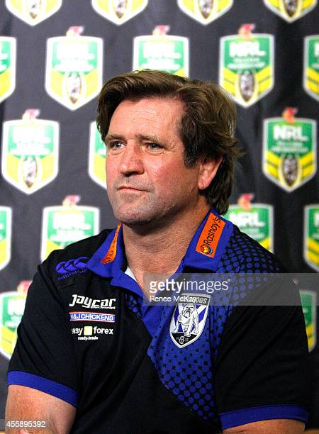 Bulldogs coach Des Hasler speaks to the media during a NRL Finals series press conference at Rugby League Central on September 22 2014 in Sydney...