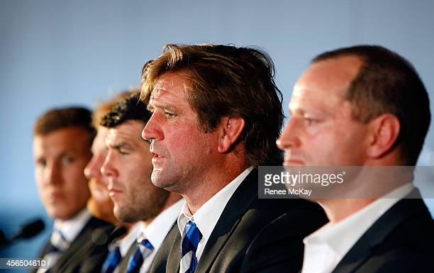 Bulldogs coach Des Hasler speaks to the media during a press conference at the 2014 NRL Grand Final lunch at The Star on October 2 2014 in Sydney...