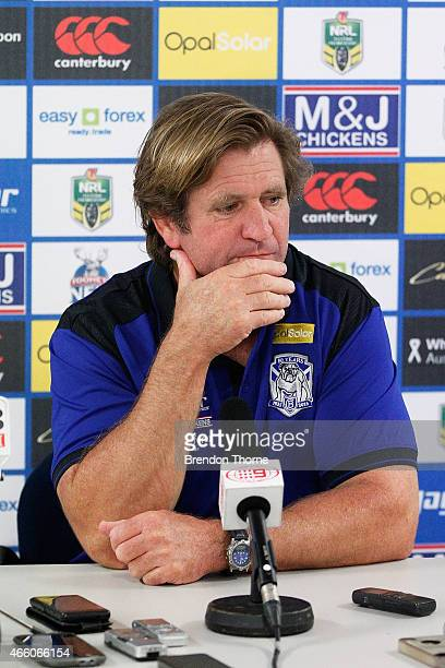 Bulldogs Coach Des Hasler speaks to the media following the round two NRL match between the Canterbury Bulldogs and the Parramatta Eels at ANZ...