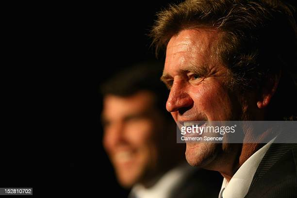 Bulldogs coach Des Hasler talks during a press conference during the 2012 NRL Grand Final breakfast at Doltone House on September 27 2012 in Sydney...