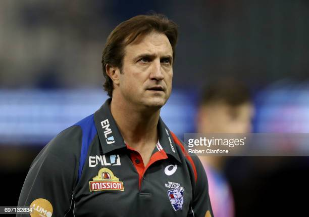 Bulldogs coach Luke Beveridge is seen during the round 13 AFL match between the Western Bulldogs and the Melbourne Demons at Etihad Stadium on June...