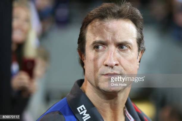 Bulldogs coach Luke Beveridge looks on after winning the round 20 AFL match between the Brisbane Lions and the Western Bulldogs at The Gabba on...