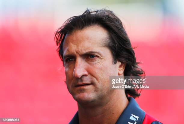 Bulldogs coach Luke Beveridge looks on during the JLTR Community Series AFL match between the Gold Coast Suns and the Western Bulldogs at Metricon...