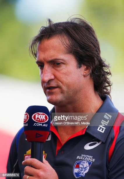 Bulldogs coach Luke Beveridge talks during the JLTR Community Series AFL match between the Gold Coast Suns and the Western Bulldogs at Metricon...