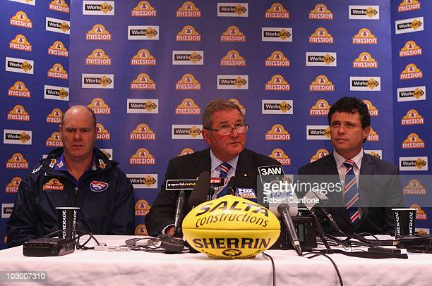 Bulldogs coach Rodney Eade club president David Smorgon and football manager James Fantasia announce the sacking of player Jason Akermanis during a...