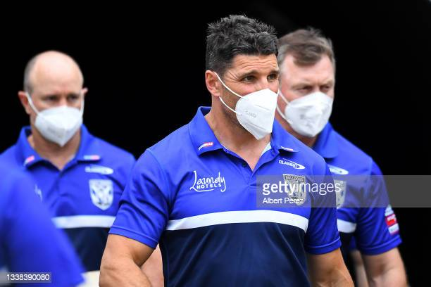 Bulldogs coach Trent Barrett is seen ahead of the round 25 NRL match between the Wests Tigers and the Canterbury Bulldogs at Moreton Daily Stadium,...