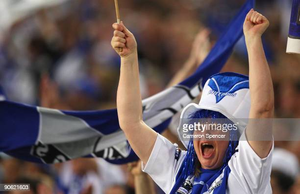 Bulldogs fan celebrates a try during the third NRL qualifying final match between the Bulldogs and the Newcastle Knights at ANZ Stadium on September...