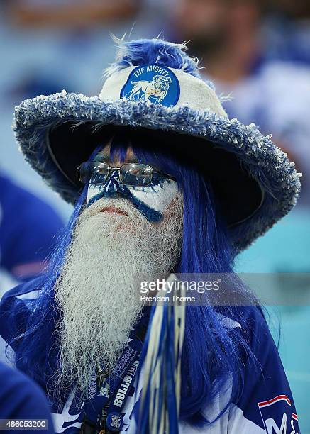 Bulldogs fan looks on prior to the round two NRL match between the Canterbury Bulldogs and the Parramatta Eels at ANZ Stadium on March 13 2015 in...