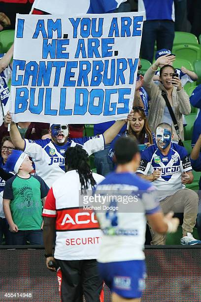 Bulldogs fans celebrate their win during the NRL 2nd Elimination Final match between the Melbourne Storm and the Canterbury Bankstown Bulldogs at...