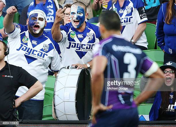 Bulldogs fans gesture to Will Chambers of the Storm during the NRL 2nd Elimination Final match between the Melbourne Storm and the Canterbury...