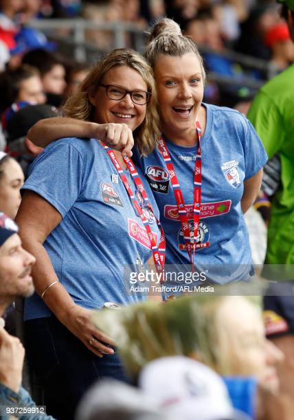 Bulldogs fans pose for a photo during the 2018 AFLW Grand Final match between the Western Bulldogs and the Brisbane Lions at IKON Park on March 24...