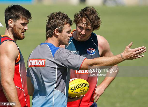 Bulldogs forward coach Cameron Mooney speaks to his players during a Western Bulldogs AFL preseason training session at Whitten Oval on January 22...