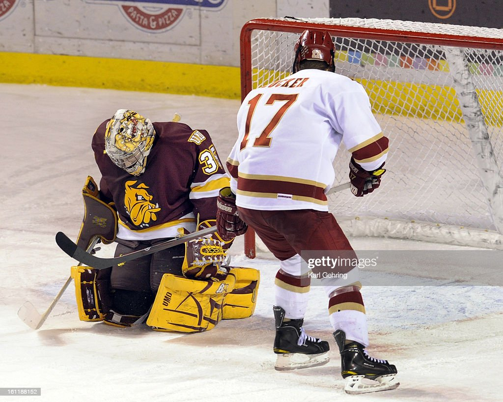 Bulldogs Goalie Kenny Reiter Denied Denver S Jason Zucker On A