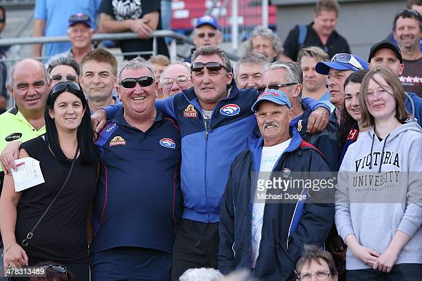 Bulldogs Hall Of Fame Legend Doug Hawkins catches up with fans during the Western Bulldogs IntraClub at Whitten Oval on March 13 2014 in Melbourne...