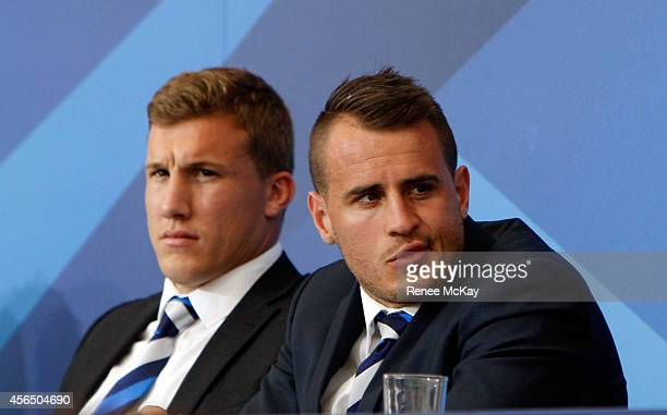 Bulldogs halves Trent Hodkinson and Josh Reynolds during the 2014 NRL Grand Final lunch at The Star on October 2 2014 in Sydney Australia