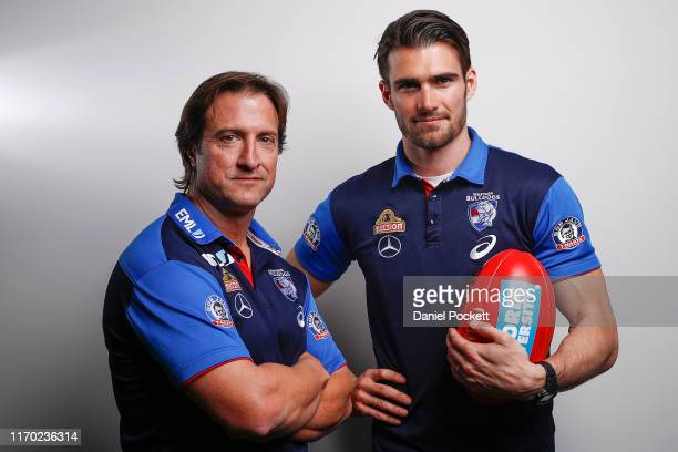 Bulldogs head coach Luke Beveridge and Easton Wood of the Bulldogs pose for a photo during a Western Bulldogs AFL media opportunity at Fox Sports...