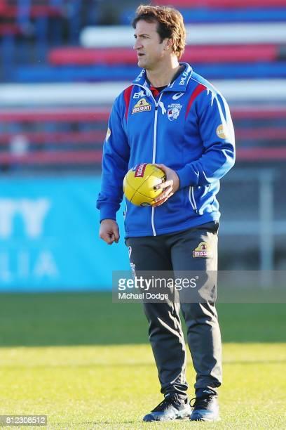 Bulldogs head coach Luke Beveridge during a Western Bulldogs AFL training session at Whitten Oval on July 11 2017 in Melbourne Australia